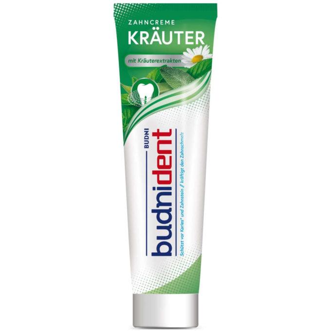 Testsieger und sehr gut im Test von Stiftung Warentest 10/2019: Budnident Zahncreme Kräuter (Budni)