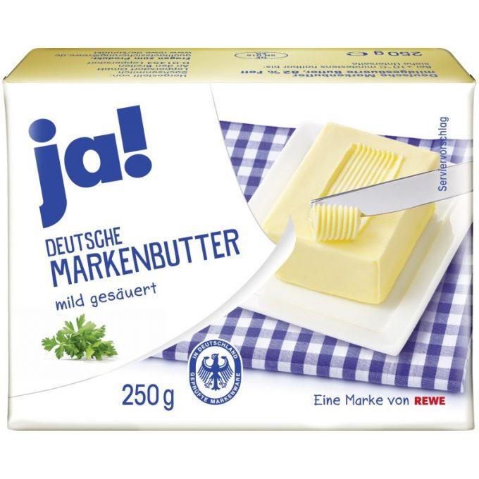 """""""gut"""" im Test von Stiftung Warentest 4/2018: ja! Deutsche Markenbutter mildgesäuert (REWE)"""