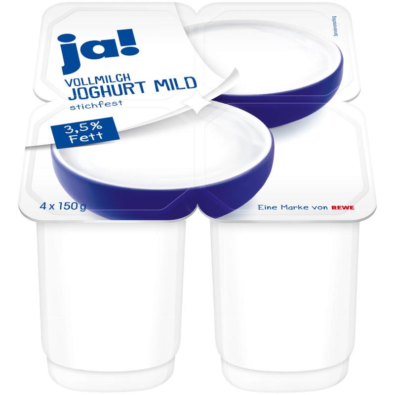 gut im Test von Stiftung Warentest 1/2018: ja! Vollmilch Joghurt mild (REWE)