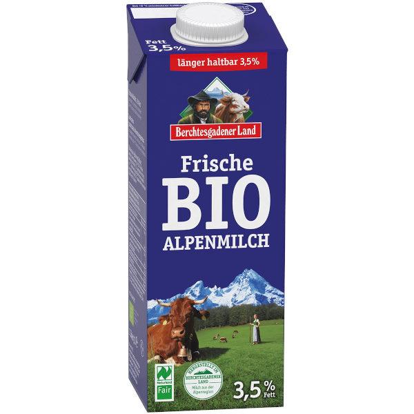 sehr gut im Test von Öko-Test 4/2015: Berchtesgadener Land Bio-Alpenmilch 3,5 % Fett Naturland Fair (Bio)