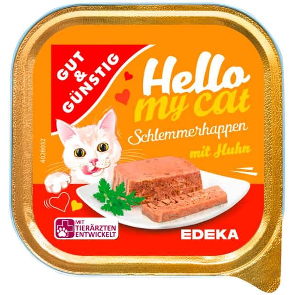 sehr gut im Test von Stiftung Warentest 5/2020: Gut & Günstig Hello my cat Schlemmerhappen mit Huhn (Edeka)