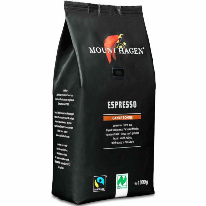 gut im Test von Öko-Test 10/2019: Mount Hagen Espresso ganze Bohne