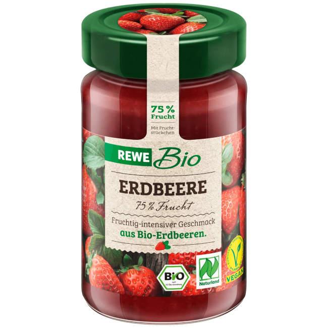 sehr gut im Test von Öko-Test 5/2020: REWE Bio Erdbeere Fruchtaufstrich 75 %