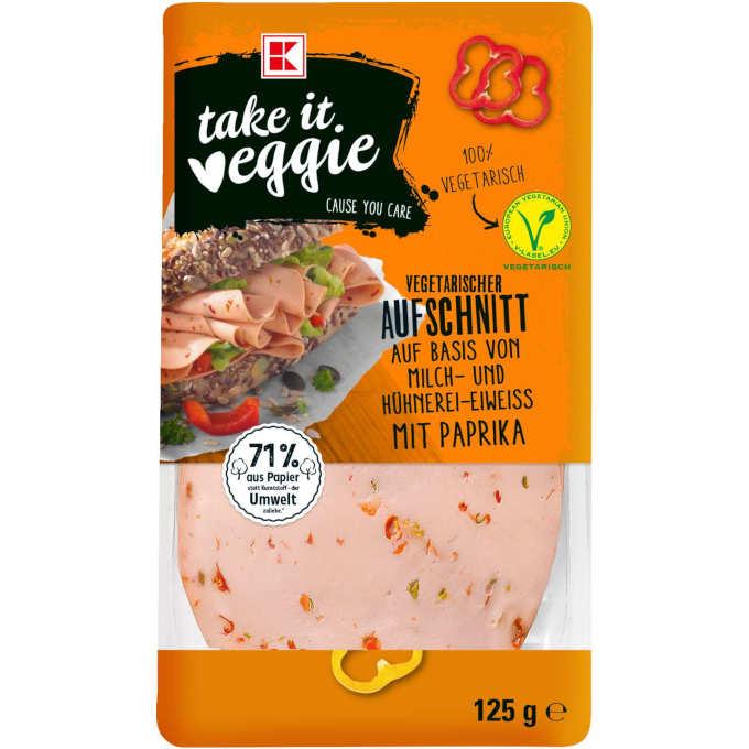 gut im Test von Stiftung Warentest 3/2019: K-TAKE IT VEGGIE Vegetarischer Aufschnitt mit Paprika (Kaufland)