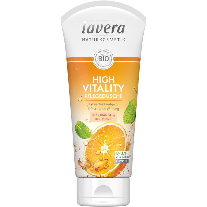 gut im Test von Öko-Test 7/2020: Lavera High Vitality Pflegedusche Bio-Orange & Minze