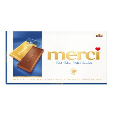 gut im Test von Stiftung Warentest 12/2018: Merci Edel-Rahm Milk Chocolate