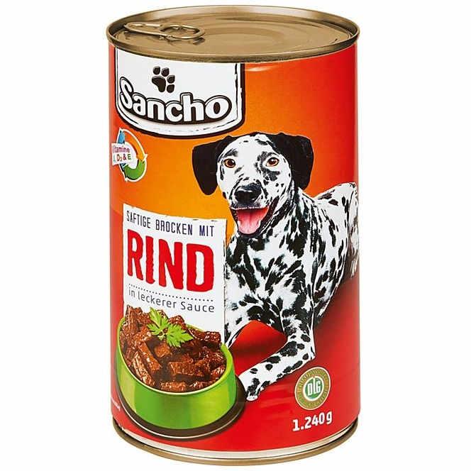 sehr gut im Test von Stiftung Warentest 06/2019: Sancho Saftige Brocken mit Rind in leckerer Sauce (Netto)