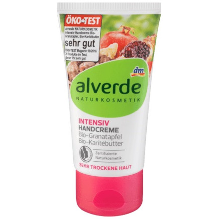 gut im Test von Stiftung Warentest 8/2018: Alverde Intensiv Handcreme Bio-Granatapfel Bio-Karitébutter