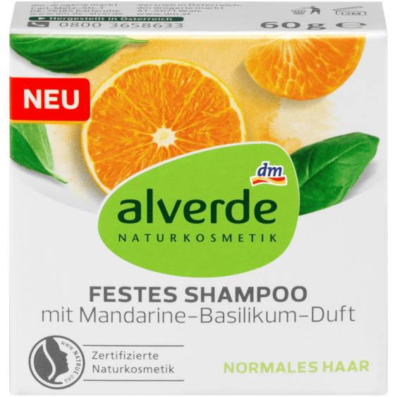 Testsieger im Test von Stiftung Warentest 06/2020 und sehr gut im Test von Öko-Test 09/2020: alverde Festes Shampoo Mandarine-Basilikum (dm)