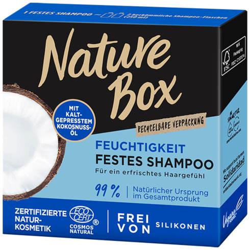 sehr gut im Test von Öko-Test 09/2020 und gut im Test von Stiftung Warentest 06/2020: Nature Box Festes Shampoo mit Kokosnuss-Öl