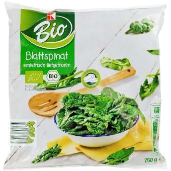 Testsieger und sehr gut im Test von Öko-Test 10/2020: K-Bio Blattspinat erntefrisch tiefgefroren (Kaufland)
